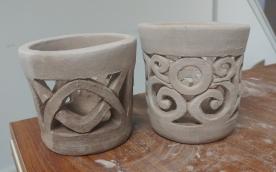 Work in progress: votive lanterns with carved designs